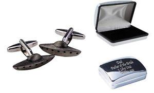 【送料無料】メンズアクセサリ― ピューターカフリンクスケースufo spaceship pewter cufflinks in case, can be engraved personalisedxdhcl1417