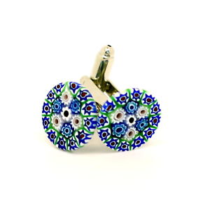 【送料無料】メンズアクセサリ― ムラノガラスカフリンクスblue green red white circular patterned murano glass cufflinks with millefiori