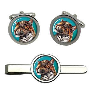 【送料無料】メンズアクセサリ― タイクリップセットleopards portrait round cufflink and tie clip set