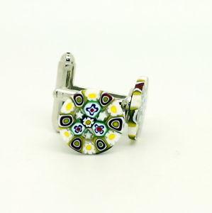 【送料無料】メンズアクセサリ― ムラノガラスカフリンクスwhite yellow red blue circular patterned murano glass cufflinks with millefiori