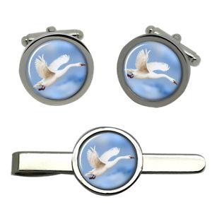 【送料無料】メンズアクセサリ― フライトラウンドタイクリップセットスワンswan in flight round cufflink and tie clip set