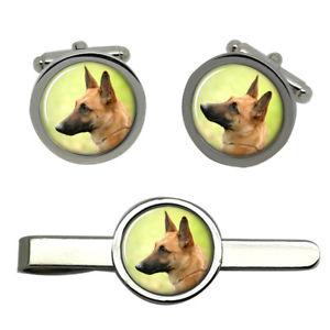 【送料無料】メンズアクセサリ― ベルギーラウンドタイクリップセットbelgian shepherd dog malinois round cufflink and tie clip set