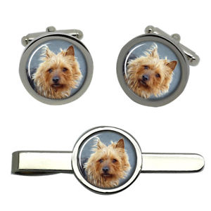 【送料無料】メンズアクセサリ― オーストラリアテリアタイクリップセットaustralian terrier dog round cufflink and tie clip set