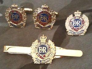 【送料無料】メンズアクセサリ― ロイヤルエンジニアカフスボタンラペルバッジネクタイクリップセットroyal engineers cufflinks, lapel badge, tie clip military gift set