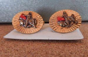 【送料無料】メンズアクセサリ― ビンテージメンズマタドールブルファイターカフスボタンvintage mens matador bull fighter cufflinks bright cut gold tone 1960s70s