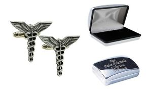 【送料無料】メンズアクセサリ― ケースピューターカフスボタンcaduceus medical pewter cufflinks in case can be engraved personalisedxdhcl1290