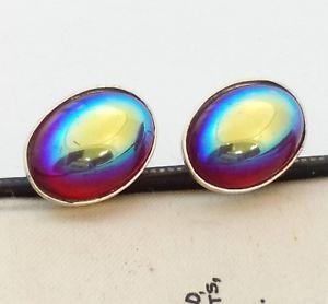 【送料無料】メンズアクセサリ― ビンテージチェコオイルガラスカフリンクスvintage rare 1950s czech red volcano oil glass oval silver plated cufflinks