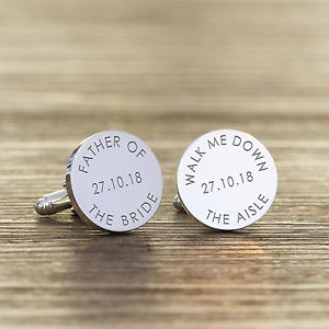 【送料無料】メンズアクセサリ― カフスリンクpersonalised silver plated father of the bride aisle wedding date cufflink