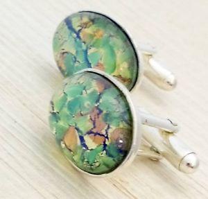 【送料無料】メンズアクセサリ― ビンテージチェコガラスオパールカフリンクスvintage 1950s czech green fire glass opal oval silver plated cufflinks