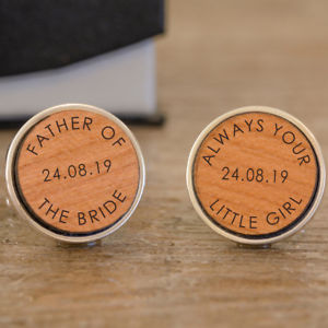 【送料無料】メンズアクセサリ― パーソナライズpersonalised wooden father of the bride wedding cufflink always your little girl