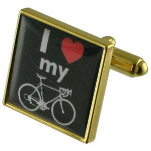 【送料無料】メンズアクセサリ― バイクゴールドサインスクエアカフスボタンi love my bike sign gold square cufflinks with engraved personalised case