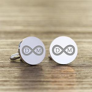 【送料無料】メンズアクセサリ― カフスリンクpersonalised silver plated infinity wedding initial cufflinks