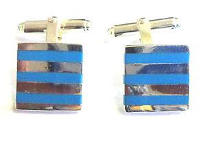 【送料無料】メンズアクセサリ― スターリングシルバーカフリンクスターコイズストライプsterling silver cufflinks with reconstituted turquoise stripes      b92017