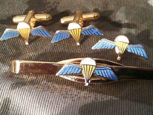 【送料無料】メンズアクセサリ― パラシュートカフスボタンバッジネクタイクリップセットparachute qualification wings cufflinks, badge, tie clip military gift set