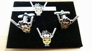 【送料無料】メンズアクセサリ― カフスリンクtieslideピンセットsmkinky girl submissive minions cufflink, tieslide lapel pin set, despicable, sm