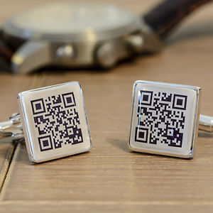 【送料無料】メンズアクセサリ― カフスリンクメッセージqrpersonalised square cufflinks secret message qr for men birthday wedding gift