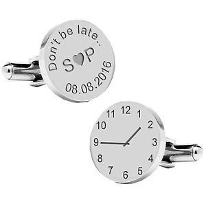 【送料無料】メンズアクセサリ― パーソナライズカフスボタンpersonalised silver plated dont be late wedding time amp; date cufflinks gift