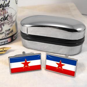 【送料無料】メンズアクセサリ― ユーゴスラビアカフスボタンボックスyugoslavia flag cufflinks amp; box