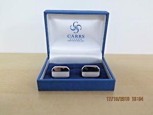 【送料無料】メンズアクセサリ― シルバーカフリンクスplain sterling silver rectangular cufflinks by carr silver