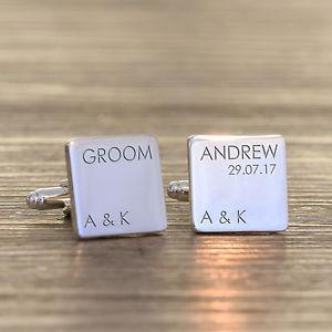 【送料無料】メンズアクセサリ― パーソナライズパーティスクエアイニシャルカフリンクスpersonalised wedding party role silver plated square cufflinks any date initials