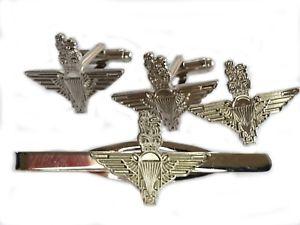 【送料無料】メンズアクセサリ― パラシュートカフスリンクバッジネクタイピンセットparachute regiment cufflinks lapel badge tieclip military gift set silver colour
