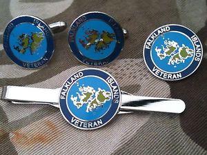 【送料無料】メンズアクセサリ― フォークランドベテランカフスリンクバッジネクタイピンセットfalkland islands veteran cufflinks, badge, tie clip military gift set