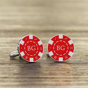 【送料無料】メンズアクセサリ― イニシャルポーカーチップカフスリンクpersonalised initials silver plated poker chip cuff links