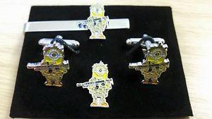 【送料無料】メンズアクセサリ― ラペルピンmilitary minions cufflink,tieslide lapel pin set, despicable me, minion soldier