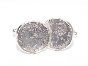 【送料無料】メンズアクセサリ― コインカフスボタン1916 102nd birthday silver threepence coin cufflinks 102 year old silver coins