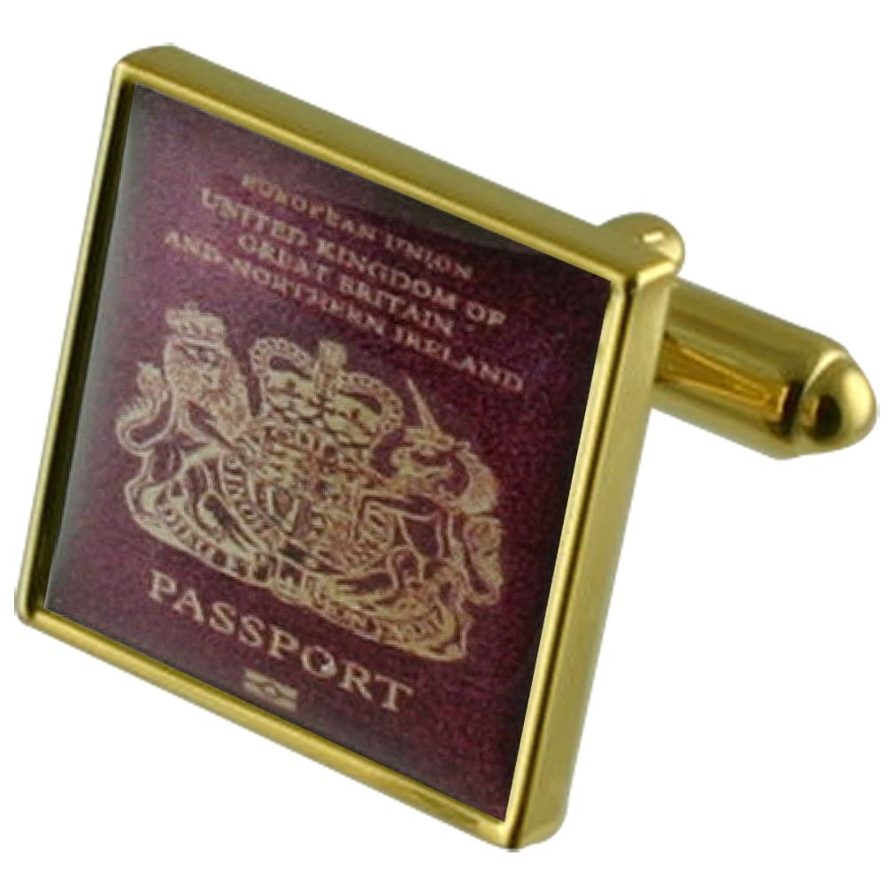 【送料無料】メンズアクセサリ― パスポートゴールドスクエアカフリンクスtravel holiday passport gold square cufflinks with engraved personalised case