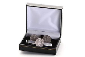 【送料無料】メンズアクセサリ― プレゼントカフスボタンタイクリップ mens birthday gift sixpence coins cufflinks and tie clip