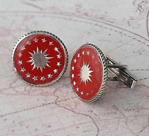 【送料無料】メンズアクセサリ― トルコエナメルラウンドカフリンクスソリッドスターリングシルバーturkish red enamel stars gemstone round cufflinks solid 925 sterling silver