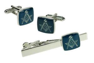 【送料無料】メンズアクセサリ― カフスボタンボックスタイバーセットblue amp; silver masonic g cufflinks amp; tie bar set in box