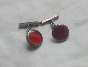【送料無料】メンズアクセサリ― スターリングシルバーディスクエナメルカネカフリンクスsterling silver and red disc cufflinks enamel or carnelian
