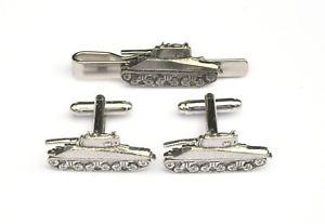 【送料無料】メンズアクセサリ― シャーマンタンクピューターカフスボタンタイクリップボックスセットsherman tank pewter cufflinks and tie clip set military gift boxed