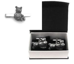 【送料無料】メンズアクセサリ― テディピューターカフスボタンタイクリップテディボックスセットteddy bear pewter cufflinks and tie clip set teddy gift boxed