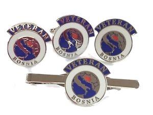 【送料無料】メンズアクセサリ― ボスニアベテランカフスボタンラペルバッジネクタイクリップセットbosnia veteran cufflinks, lapel badge, tie clip gift set