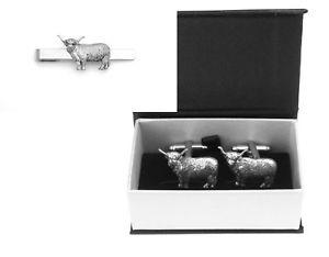 【送料無料】メンズアクセサリ― ハイランドピューターカフスボタンタイクリップボックスセットhighland cow pewter cufflinks and tie clip set farming gift boxed