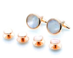 【送料無料】メンズアクセサリ― ローズパールシャツスタッドゴールドホワイトカフスボタンドレススタッドセットrose gold white mother of pearl shirt studs amp; cufflinks set dress stud tudexo