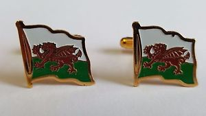 【送料無料】メンズアクセサリ― カフスボタンウェールズエナメルcufflinks welsh flag enamel amp; gilt metal