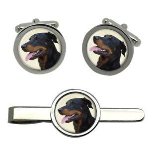 【送料無料】メンズアクセサリ― ラウンドタイクリップセットbeauceron dog round cufflink and tie clip set