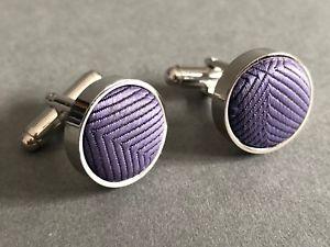 【送料無料】メンズアクセサリ― カフスリンク ウェディングヘントセットround purple cufflinks fabric inserts circular dapper wedding gents gift set