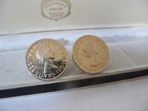 【送料無料】メンズアクセサリ― メンズヴィンテージハーフペニーカフスボタンシャツスーツmens vintage 9ct gold plated 1963 half penny coins cufflinks shirt suit 175g