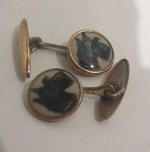 【送料無料】メンズアクセサリ― ヴィンテージアールデコ1930スコッティーカフスリンクvintage art deco 1930s brass scottie dog cufflinks