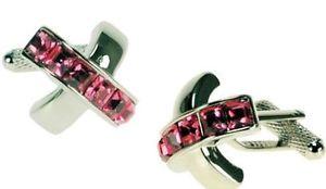 【送料無料】メンズアクセサリ― レッドローズクリスタルクロスカフスボタンカフリンクスred rose crystal cross cufflinks cuff links