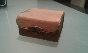 【送料無料】メンズアクセサリ― アンティークカフスボタンステッチケースantique cufflinks studd box leather over stitched case very old