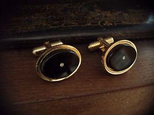 【送料無料】メンズアクセサリ― ビンテージゴールドジェットブラッククリスタルカフリンク