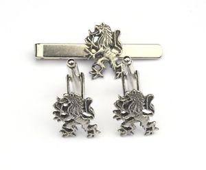 【送料無料】メンズアクセサリ― ライオンピューターカフスボタンタイクリップスコットランドボックスセットrampant lion pewter cufflinks and tie clip set scottish gift boxed