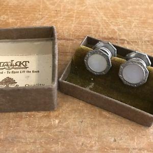 【送料無料】メンズアクセサリ― ゴールドデコビンテージボックスパールカフリンクスstalokt gold fill deco filigree vintage 1930s mother of pearl cufflinks in box
