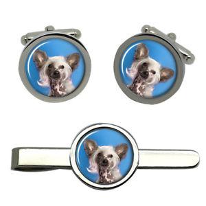 【送料無料】メンズアクセサリ― ラウンドタイクリップセットchinese crested dog round cufflink and tie clip set